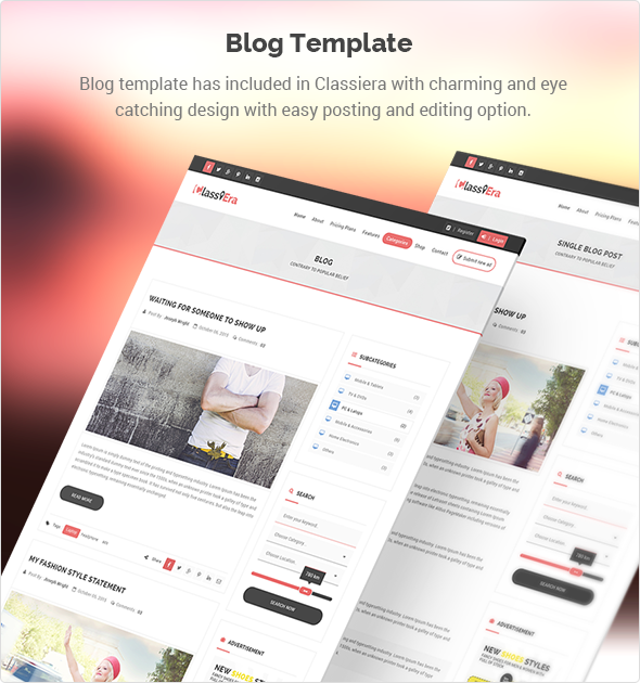 Blog in Classified theme