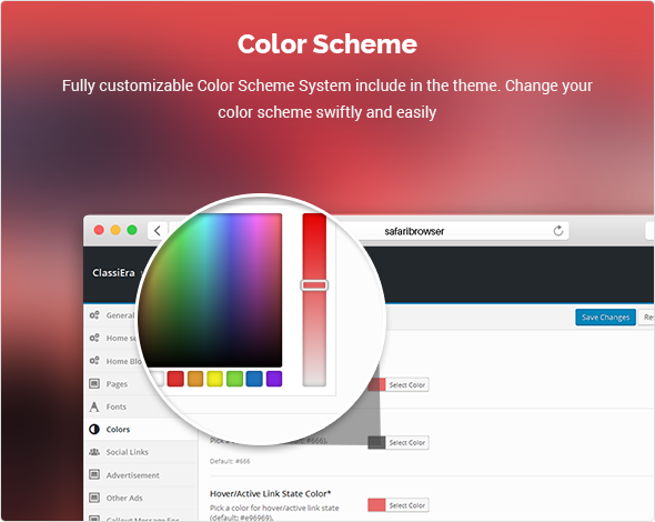 colors in Classified theme
