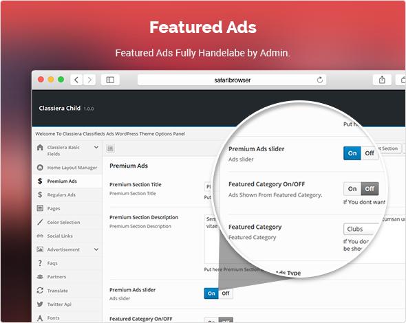 Premium Ads in classified theme