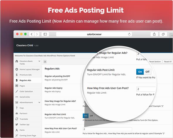 Free Ads Posting Limit in Classiera