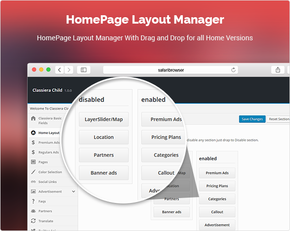 Layout Manager for classified theme