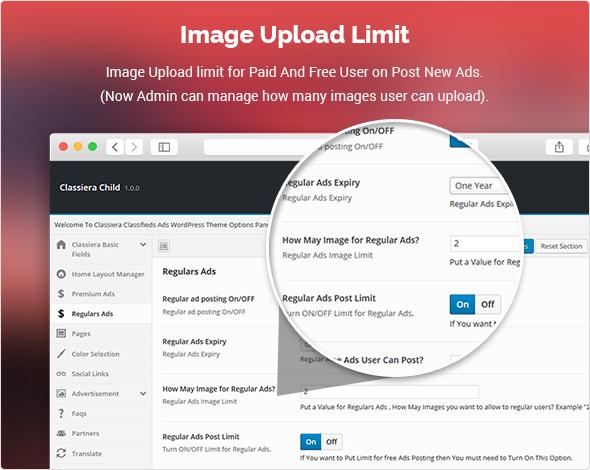Image Upload Limit classified theme
